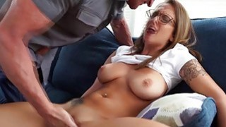 Teen in glasses Layla London fucked on a couch