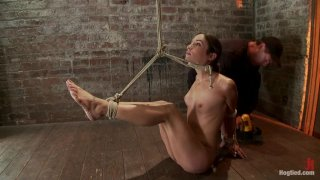 Sexy Amber has her elbows bound together, ankles to neck, and endures foot caning, brutal orgasms.