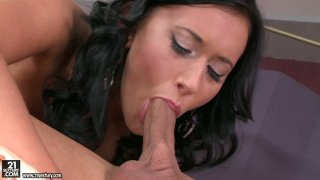 Black haired blowlerina Angelica Kitten gives a super solid blowjob