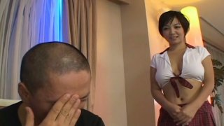Well figured Japanese slut Meguru Kosaka shows her shaved pinkish pussy close-up