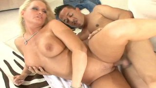 Slutty blonde milf Maya Divine opens her legs for missionary style fuck