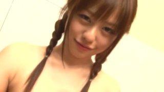 Naked cutie Rina Rukawa takes a bath and shows her tits