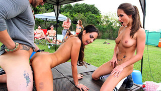 Lizz Tayler and Trinity St. Clair having threesome sex outdoor