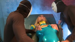 Whorish chick Alexis Monroe gets caught by two studs and pleased on a table