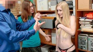 Blonde girlfriend gets punished in front of her loser boyfriend