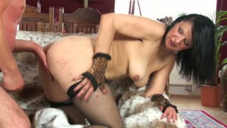 Horny cougar Reena bends over for Ryan and gets fucked doggy style