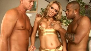 Bronzy girl Vivian is attacked by two big dongs