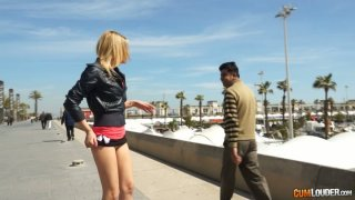 Outdoor palatable  bitch offers one dude  her ass to touch