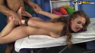 Good-looking brunette gets hammered by kinky masseur