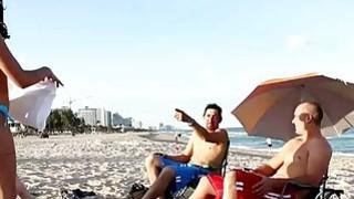Super hot teens strip for their parents at the beach