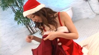Japanese Chritmas girl Asahi Miura has fun with a vibro egg