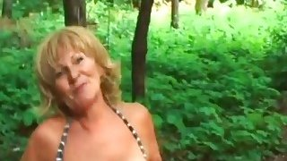 Blonde Granny Stally Enjoys Giving Head Outdoors