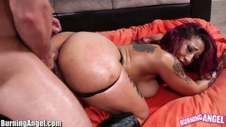 Big ass punk babe oiled and analed