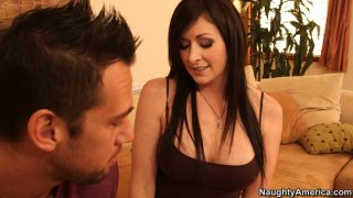Sara Hide hits on brunette stud and puts her tits on his face