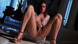 Long legged babe spreading her hairy pussy wide