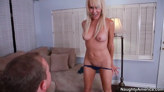 Nice blonde Erica Lauren is doing a blowjob and after it give in ass