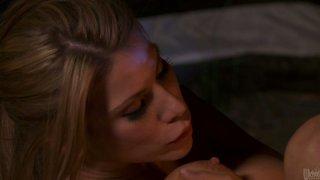 Sexy blonde Aleksa Nicole rides her boyfriend on the camping trip