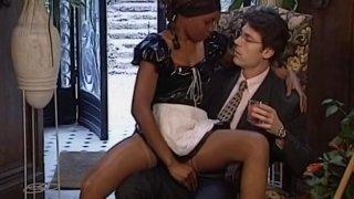 Sexy ebony maid gets her nice tight twat pleased