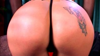 Platable blonde Angel Long plays with very big dildo