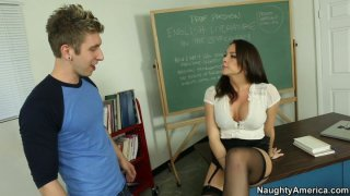 Sexy teacher Chanel Preston takes exam from her student