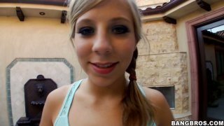 Pretty teen Chastity Lynn gets her butt cheeks stretched and later gives a great blowjob
