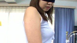Blindfolded Asian chick Wakana Sakai gets ready for a fuck